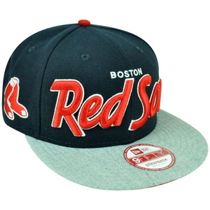 MLB New Era 9Fifty Boston Red Sox Team Script Heather Strap Back Clip Hat Cap
