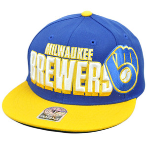 47 Forty Seven Brand Snap Back Wool Slamma Jamma Hat Cap MLB Milwaukee Brewers