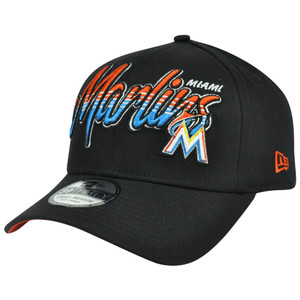 MLB New Era 39Thirty S/M Miami Marlins Dub Tone Script Stretch Flex Fit Hat Cap