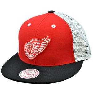 NHL Mitchell Ness Mesh Throwback Logo Snapback Hat Cap Detroit Red Wings NE35