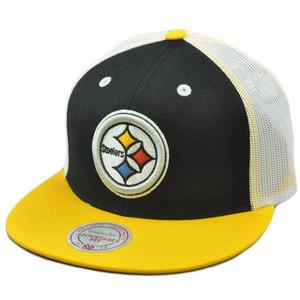 NFL Retro Mitchell & Ness Flat Mesh Snapback Hat Cap NE33 Pittsburgh Steelers