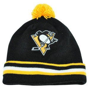 NHL Mitchell Ness KE84 Jersey Stripe Cuffed Pom Knit Beanie Pittsburgh Penguins