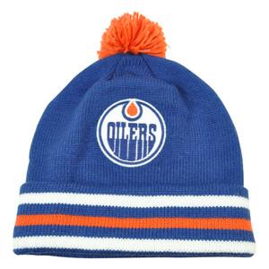 NHL Mitchell & Ness KE84 Jersey Stripe Cuffed Pom Knit Beanie Edmonton Oilers