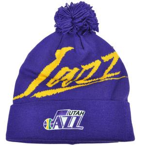 NBA Mitchell & Ness Vice Script KE32 Cuffed Pom Knit Beanie Utah Jazz HWC