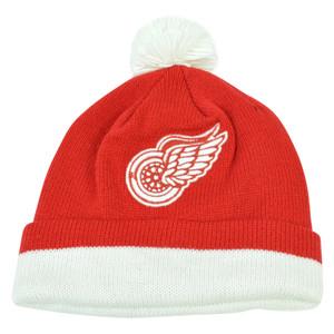 NHL Mitchell & Ness KE84 Jersey Stripe Cuffed Pom Knit Beanie Detroit Red Wings