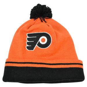 NHL Mitchell Ness KE84 Jersey Stripe Cuffed Pom Knit Beanie Philadelphia Flyers