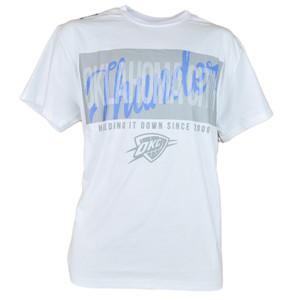 NBA UNK OKC Oklahoma City Thunder Fine Line White Basketball Tshirt Tee