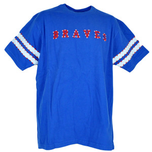 MLB Atlanta Braves American Flag Star Shirt Tee Adult Blue Tshirt Size
