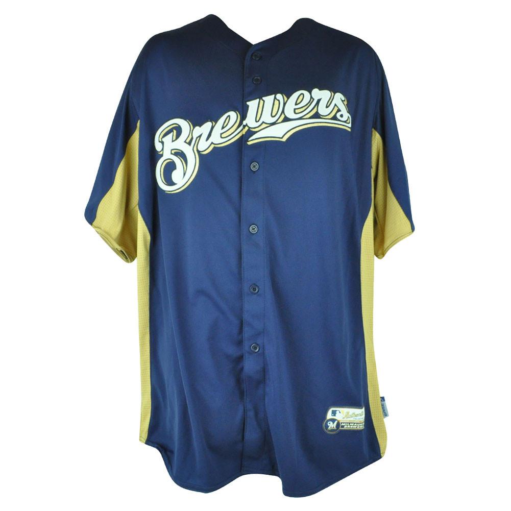 ea030415c MLB Majestic Milwaukee Brewers Cool Base Batting Practice Mens Baseball  Jersey