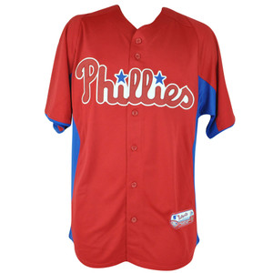 MLB Majestic Philadelphia Phillies Cool Base Batting Practice Baseball Jersey