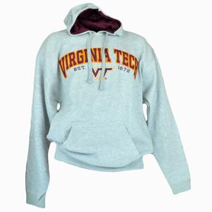 NCAA Hoodie Hooded Sweater Pullover Grey Long Sleeve Fleece Virginia Tech Hokies