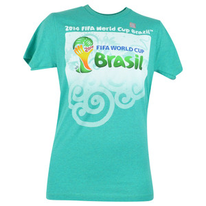 2014 FIFA World Cup Brazil Event Soccer Futbol Mint Green Adult Tshirt Tee