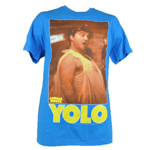 Animal House YOLO College Movie Toga Party Tshirt John Blutarsky Tee Blue