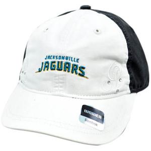 NFL Jacksonville Jaguars White Black Relax Women Ladie Reebok Rhinestone Cap Hat