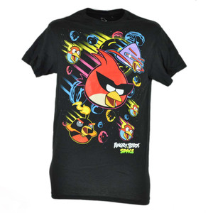 Angry Birds Neon Space Black Tshirt Mobile Video Game Adult Graphic Tee