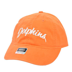 NFL Miami Dolphin Orange Wash Relaxed Reebok Women One Size Fits All Cap Hat