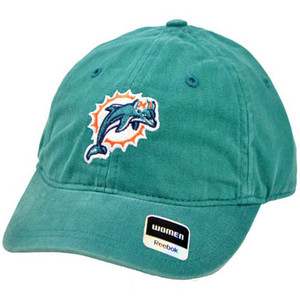 NFL Miami Dolphin Turquoise Wash Relaxed Women Reebok One Size Fits All Cap Hat