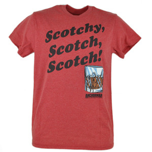 Anchorman Ron Burgundy Scotchy Scotch Funny Movie Red Tshirt Graphic Tee