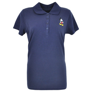 Disney Mickey Mouse Classic Mick Missy Women Ladies Polo Shirt Navy Blue