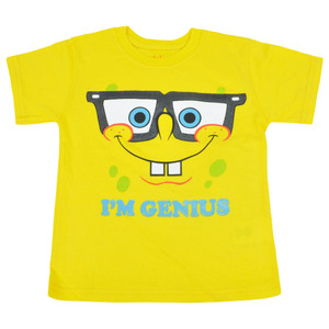 Nickelodeon Spongebob Genius Bob Youth Kids Yellow Tshirt Cartoon Tee