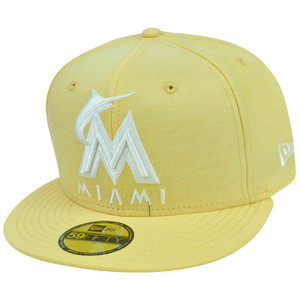MLB New Era 59Fifty 5950 Pastalin Miami Marlins Fitted Hat Cap Pastel Yellow
