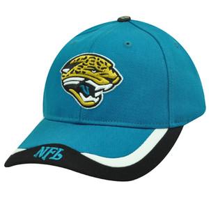 NFL Jacksonville Jaguars Teal Blue Black White Velcro Cotton Cap Hat Licensed