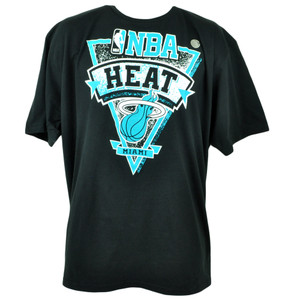 NBA Adidas Miami Heat Aqua Backboard Basketball Mens Tshirt Tee 2XLarge Black