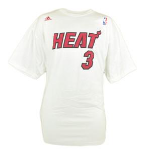 NBA Adidas Miami Heat Dwyane Wade 3 Jersey Player Adult Tee White Tshirt 2XLarge