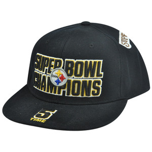 NFL Reebok Pittsburgh Steelers 5 Time Champions Fitted Flat Bill Hat Cap Blk