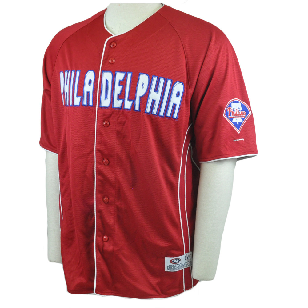 MLB True Fan Philadelphia Phillies Felt Applique Traditional Jersey ... 7c54730f02b