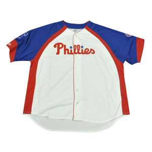 MLB Majestic Philadelphia Phillies Button Up Authentic Baseball Jersey 5XLarge