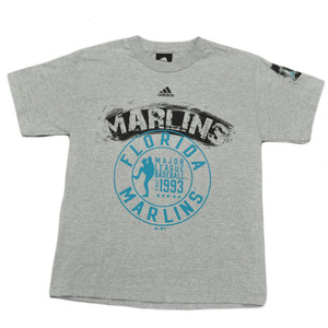 MLB Adidas Licensed Florida Miami Marlins Youth Junior Size T shirt Tee Gray