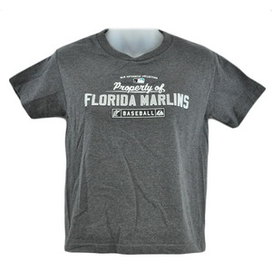 MLB Florida Miami Marlins Baseball Youth Kids Girls Cotton Tshirt Sport Tee Gray