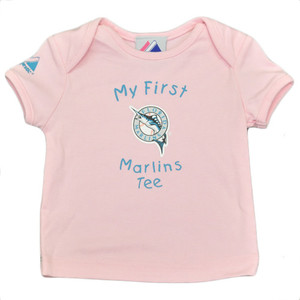 MLB Florida Miami Marlins Baseball Girls Infant Babies Tshirt Tee Pink