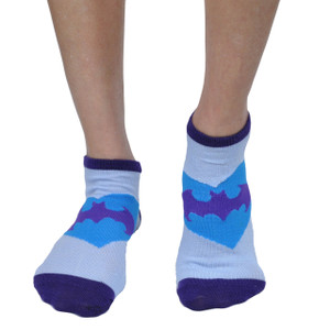 Bioworld Batgirl Supergirl Official Licensed Design Costume Ankle Socks 2 Pairs