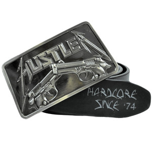 Hustler Gun Logo Hardcore 8-1009 Black Leather Belt Buckle Adult Waistband