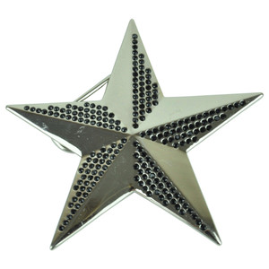 Blinged Out Nautical Star Rhinestone Metal Black Belt Buckle Punk Rock Accessory
