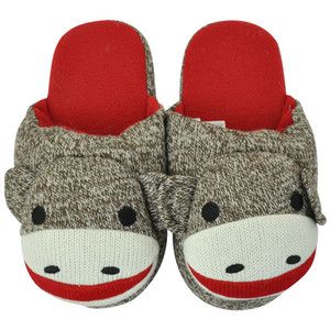 Sock Monkey Women Ladies Comics Fleece Slippers Snoozies Winter Shoes Small 4-6