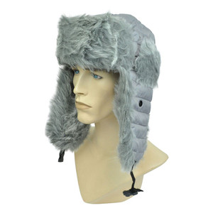 Bomber Aviator Bubbly Trooper Ski Gray Faux Fur Ear Lap Winter Hat Blank Cold