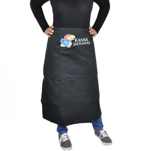NCAA Kansas Jayhawks Black Apron Barbecue Accessory Tailgating Gear Cook Smock