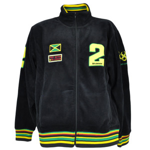 BB London Brand Jamaican Flag Rasta Rastafari Fleece Track Jacket Sweater Medium