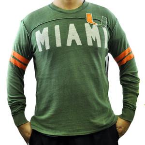 NCAA Miami Hurricanes Rave Cotton Long Sleeve Shirt Sweatshirt GIII Sport Medium