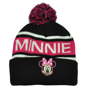 Disney Minnie Mouse Character Pom Word Mark Beanie Knit Cuffed Hat Black Toque