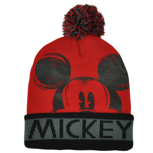Disney Mickey Mouse Red Distressed Cuffed Beanie Knit Toque Character Skully