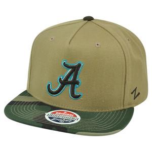 NCAA Zephyr Alabama Crimson Roll Tide Zuni 5 Panel Camouflage Snapback Hat Cap