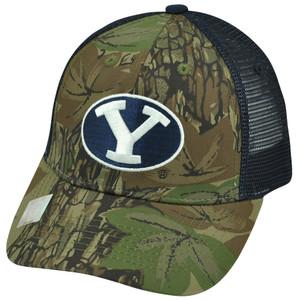 NCAA Brigham Young Cougars Freshman Navy Blue Mesh Trucker Camo Snapback Hat Cap