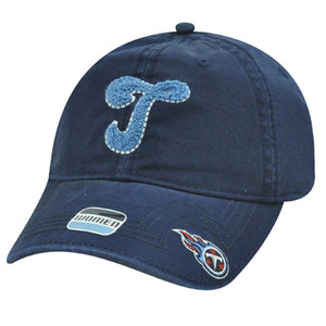 NFL Tennessee Titans Navy Light Blue Womens Ladies Chenille Hat Cap Garment Wash