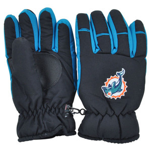 NFL Miami Dolphins 3M Mens Winter Snow Gloves Thermal Insulation Pair One Size