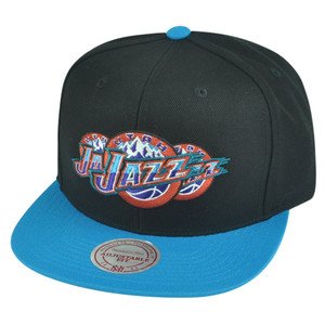 NBA Mitchell Ness Utah Jazz NP57 Triple Stack Logo Flat Bill Snapback Hat Cap
