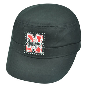 NCAA Nebraska Cornhuskers Delia Women Ladies Military Fatigue Rhinestone Hat Cap